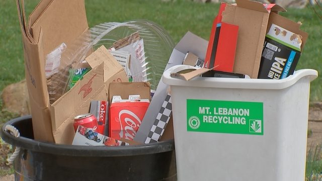 Recyclable items set out for collection.