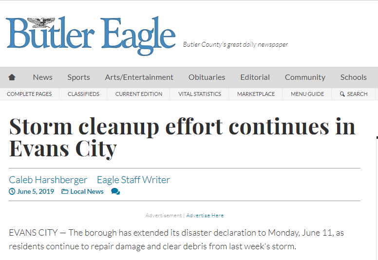 butler eagle article | storm cleanup effort continues in Evans City