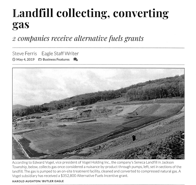 butler eagle article | landfill collecting, converting gas