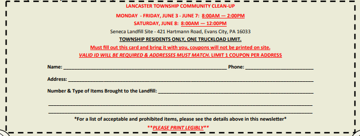 lancaster township community cleanup 2019 coupon