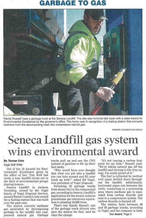 butler eagle feature | Garbage to Gas: Seneca Landfill gas system wins environmental award
