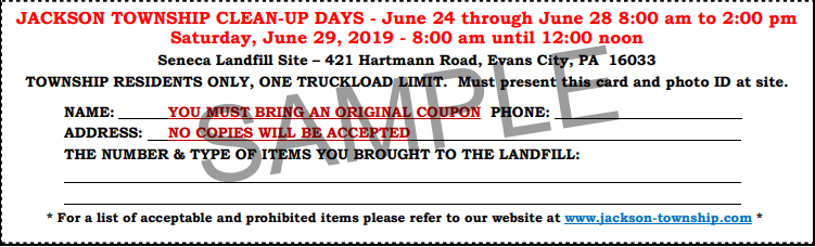 jackson township cleanup june 2019 coupon