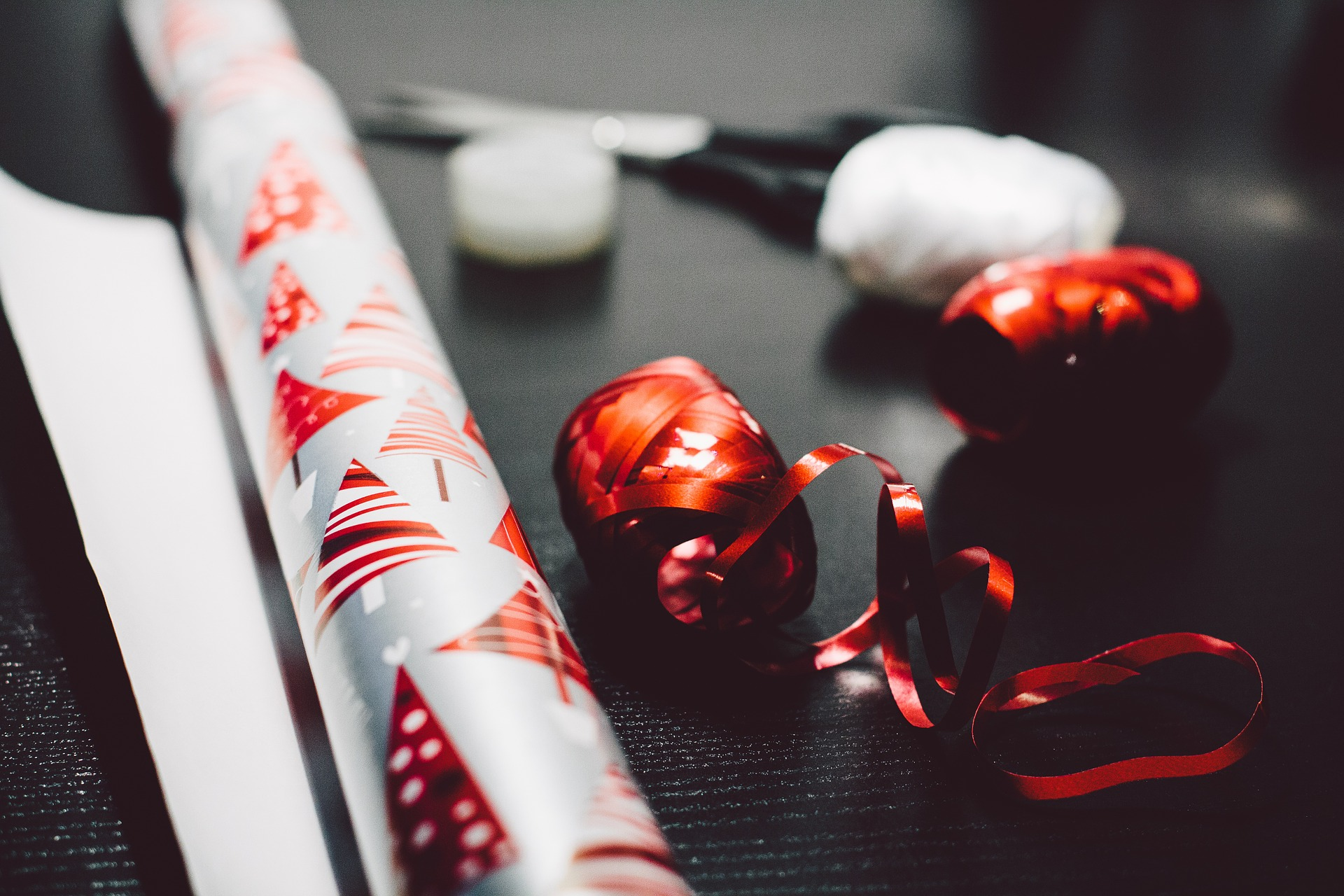 holiday wrapping paper and ribbon