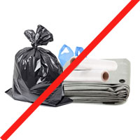 Plastic films not for recycling.