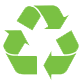 Green recycling symbol.