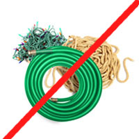 Ropes, hoses, and cords not for recycling.