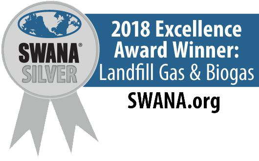 SWANA 2018 Excellence Award for Landfill Gas and Biogas.